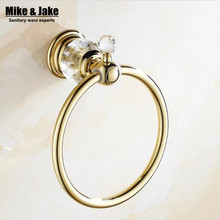 Golden bathroom towel ring holder crystal Towel holder Ring,Towel Bar bathroom towel accessories(China)