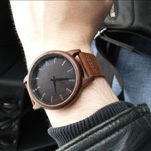 2017Men's Clock Black Vintage Saat Wooden Watches With Real Leather Band Design Man Top Brand Quartz Watches Round With Gift Box