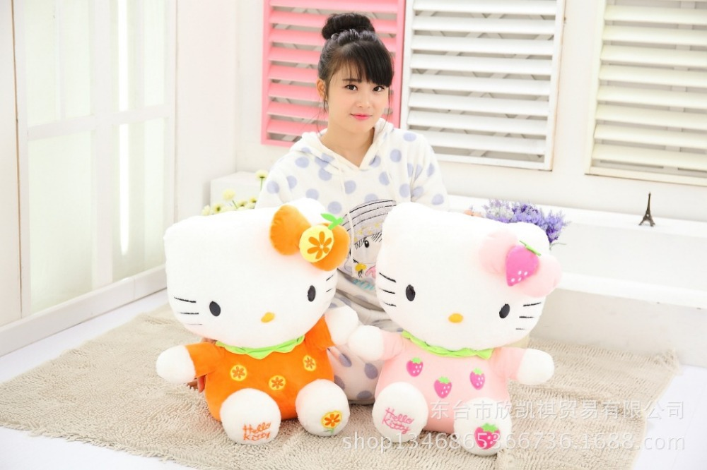 orange, strawberry fruit design hello kitty plush toy about 50cm soft throw pillow birthday gift w5338<br>