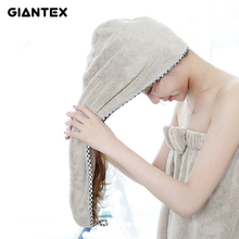GIANTEX Soft Women Bathroom Super Absorbent Quick-drying Microfiber Bath Towel Hair Dry Cap Salon Towel 25x65cm U0983