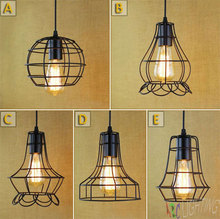 Black Metal Cage Antique Vintage Retro Chandelier Lampshade Ceiling Pendant Lamp eu warehouse iluminacion colgante light shade