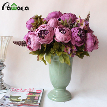 1 Bouquet 13 Heads Peony Artificial Flowers Wedding Decorative Flowers Vintage European Fall Vivid Fake Flowers For Home Decor