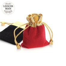 LINSOIR 9*12/7*9cm Red Black Velvet Bag Drawstring Pouch 10pcs/lot Jewelry Packaging Storage Christmas Wedding Gift Bag F1846