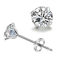 Korean simple silver plated stud earrings for women men round small zircon earrings Fashion jewelry wholesale(China)