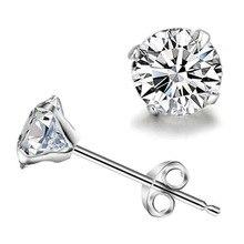 Korean simple silver plated stud earrings women men round small zircon earrings Fashion jewelry wholesale