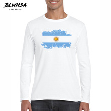 BLWHSA Spring Summer T-shirt for Men New Arrival Argentina Flag Pattern T Shirt Casual Male Long Sleeve Tshirt Plus Size 2XL(China)