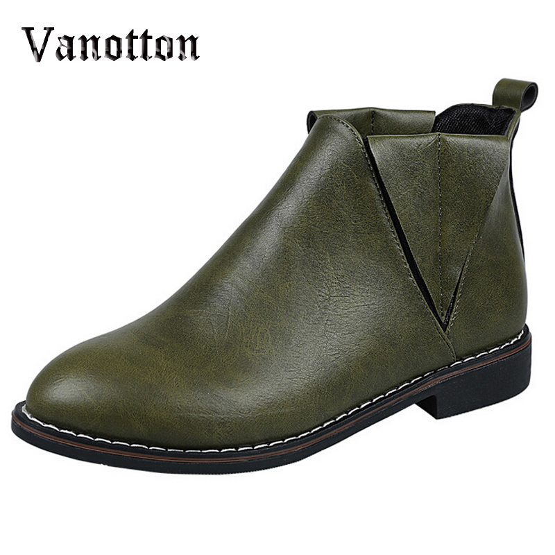 Womens Shoes Round Toe Green Motorcycle Boots Artificial Leather Flat With Slip-on Platform Ankle Boots<br><br>Aliexpress
