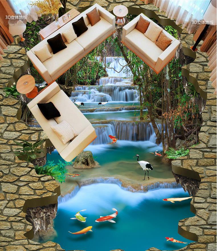 Waterfall Floor wallpaper 3d for bathrooms Custom Photo self-adhesive 3D floor Home Decoration    <br>