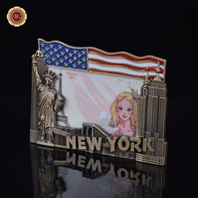 WR American Copper Photo Frame Decoration Crafts New York Styles Metal Frame Home Office Desk Accessory Gift Free Shipping