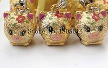 50pcs phone Decoration lovely Golden pig Copper Jingle Bells cute Bells lanyard Festival/Party Decoration new style