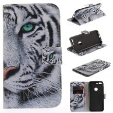 for Google Pixel / Google Pixel XL Case Cover Flip PU Leather Stand Wallet Phone Cases with Stand Function Card Holder Tiger