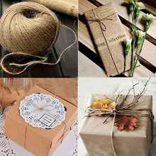 100 meters lot Natural Jute Twine Burlap String 3 Ply Rope Wedding Wrapping Cord Thread Crafts Favour Supplies