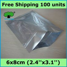 6x8cm (2.4''x3.1'') one side thickness 4 mils small bag aluminum foil ziplock bag 100 pcs Free shipping(China)