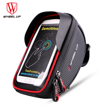 WHEEL UP Waterproof Sport MTB Road Bike Front Bag 6.0 inch Touchscreen Bike Cellphone Bag Bicycle Top Tube Pannier Cycling Pouch(China)