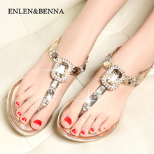 ENLEN&BENNA New Women Sandals Flats Summer shoes Women 2017 Summer Style Rhinestone Flat Heel Flip Flops Women Shoes Plus Size