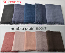 Hot sale bubble plain scarf/scarves fringes women soft solid hijabs popular muffler shawls big pashmina muslim wrap cotton scarf