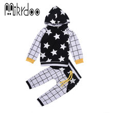 Baby boy clothes hoody pants suit pattern plaid start patchwork black and white clothing set cotton infantil top trousers casual