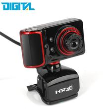 HXSJ 16MP Pixel 180 Degrees Rotatable HD Webcam Digital Video Clip-on Web Camera with Microphone Mic 3 LED for Laptop Desktop TV
