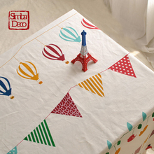 Korean Cartoon Birds Ballon Flags Table Cloth Covers For Kids Birthday Party Cotton Linen Tableclothes Christmas Decoration