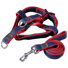 4 Size Dog Leashes Adjustable Denim Pet Harness Set Lead Leash Training Walking Belt For Small Medium Puppy Dogs Cats