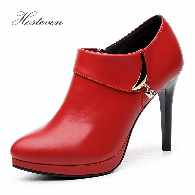 Hosteven Womens Shoes PU Leather Shoes High Heels 10 cm Pumps  Shoes Wedding Shoes Size 34-39<br>