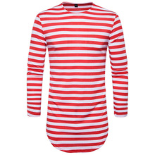 2017 red Striped T-shirt wholesale fashion brand summer Long oversize extend t shirts designer finger long sleeve cotton