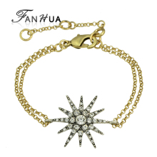FANHUA  Kpop Wholesale Punk Rock Gold-Color Chain Bracelets Rhinestone Antique Silver Color Star Spike Charm Bracelets For Women