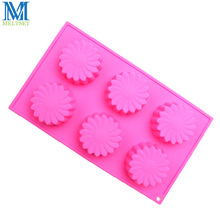 6 Cavity Flower Shape Silicone Moon Cake Mold DIY Baking Pastry Tools Fondant Cupcake Mold