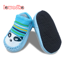Lawadka Newborn Baby Shoes Socks Cartoon Infant Baby Gift Kids Indoor Floor Socks PU Leather Sole Non-Slip Thick Socks(China)