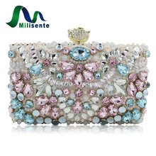 New Women Handmade Beaded Clutch Bag Elegant Crystal Rhinestone Diamond Pearl Evening Party Purse Banquet Rose Head Pink