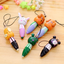 6 Pcs /lot Cartoon Ballpoint pen gel pen Student practical cute wooden Cartoon Gift Carry pen Short Pendant Small Animal