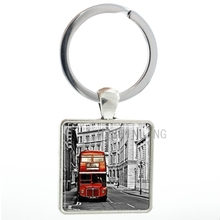 Vintage Bus square pendant keychain UK Double Decker Bus London England men women key chain ring holder new fashion jewelry AA02