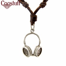 Necklaces Men Woman Headset Pendant Rock Genuine Leather Necklace Chocker