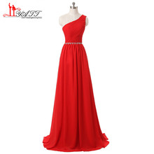 Fast Shipping Long Chiffon Bridesmaid Dresses 2017 One Shoulder Beading Red Cheap Bridesmaid Dress Wedding Party Gown BD028