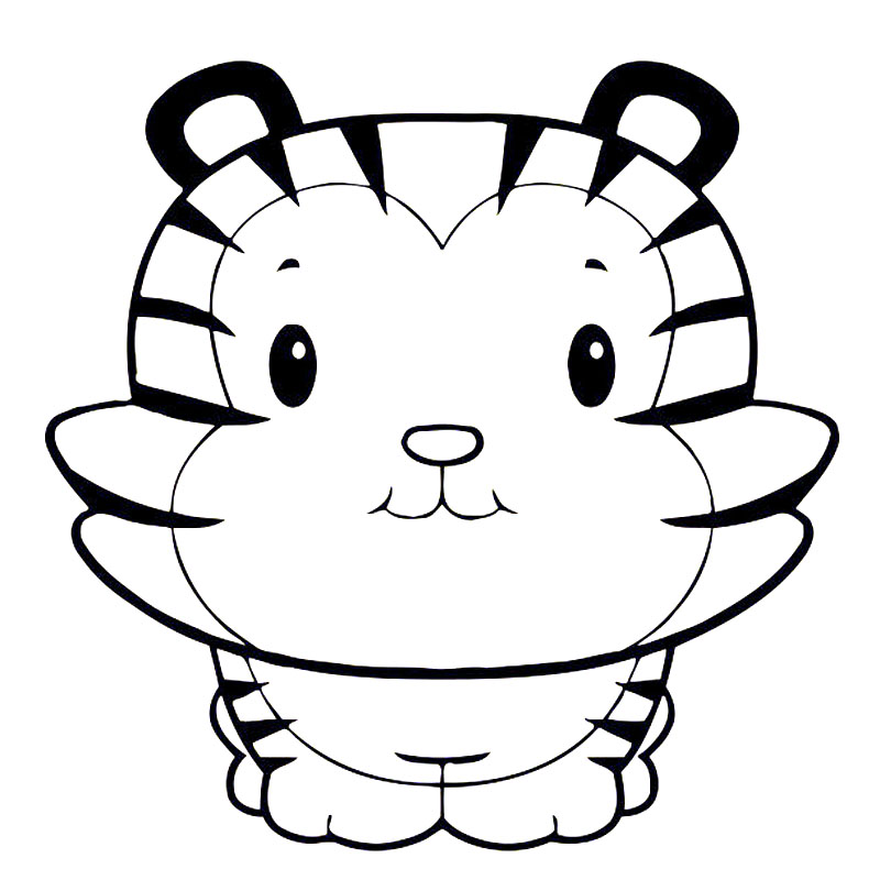 Black and white cute tiger clipart
