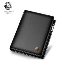 LAORENTOU Cow Leather Men Short Wallet Casual Genuine Leather Male Wallet Purse Standard Card Holders Wallets For Men(China)