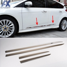 AX For Ford Focus Mk3 2012 2013 2014 2015 2016 2017 Chrome Door Side Body Molding Line Garnish Cover Trim Strip Protector 4pcs(China)