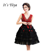 It's Yiiya Popular Sleeveless V-Neck Cocktail Dresses Flower Pattern Appliques Embroidery Tiered Vintage Cocktail Dress QXN108(China)