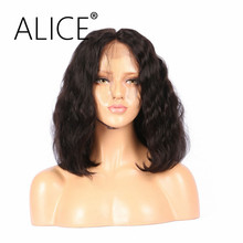 "ALICE Pre Plucked 360 Lace Frontal Wig For Mother's Day Wavy 130 Density Natural Black 10-22"" Brazilian Remy Human Hair Wigs"