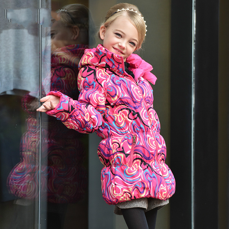 Mioigee 2017 Child Jacket Pink Coat New Fashion Girl Print Jacket Double-sided Wear Winter Warm coat for girlsÎäåæäà è àêñåññóàðû<br><br>