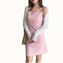 B1578 2017 Spring and summer new women sexy harbor taste retro chic simple pure color fairy to wear dress cheap wholesale(China)