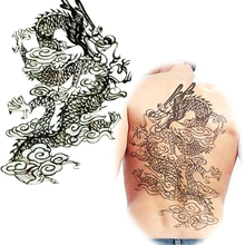 Full Back Large Black Chinese Dragon Waterproof Temporary Tattoo Stickers Mens Art Fake Tattoo Designs