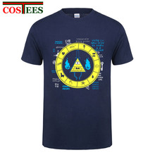 Natural Cotton Adult Hip Hop tshirt Gravity Falls Bill Cipher Zodiac T shirt men Autumn Camisa mens Tops harajuku original shirt(China)