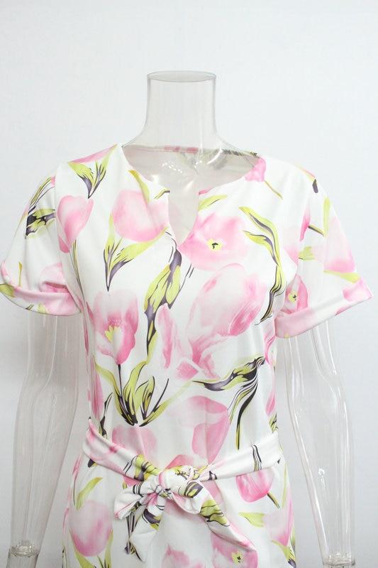 2018 Spring Summer Printed Women Dress O-Neck Hem Side Split Ladies Dresses Tie Sashes Short Sleeve Casual Sexy Female Vestidos 17