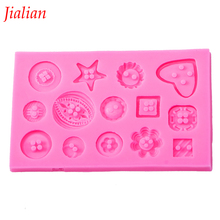 Jialian fondant silicone mold DIY Button shaped Christmas wedding decoration fondant sugar cooking tools cake decoration FT-0333