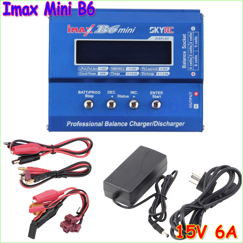 1pcs SKYRC Original Imax B6 Mini Professional Battery Balance Charger +15V 6A Adapter For RC Helicopter Drone Charging<br><br>Aliexpress