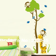 [Fundecor] Giraffe monkey tree sticker Kids Growth Chart Height Tower Growth Measure wall stickers Grow Up 6295(China)