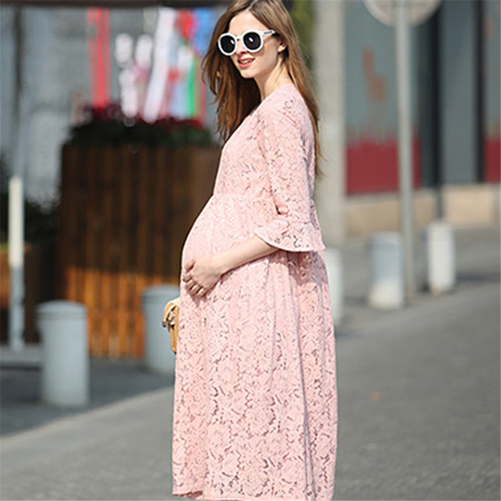 Elegant Pregnant Women Dress Lace  Maternity Dresses Summer Fashion Puff Sleeve Midcalf<br><br>Aliexpress