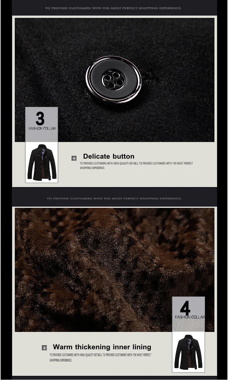 Winter Fashion Men\`s Warm Fleece Jacket Coat Casual Wool Jacket Plus Size S-XXL