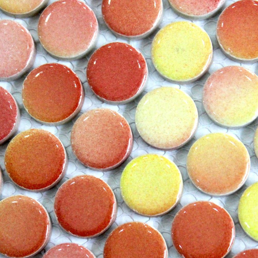 Fading Yellow Mixed Orange Color Round Ceramic Mosaic Tiles Kitchen